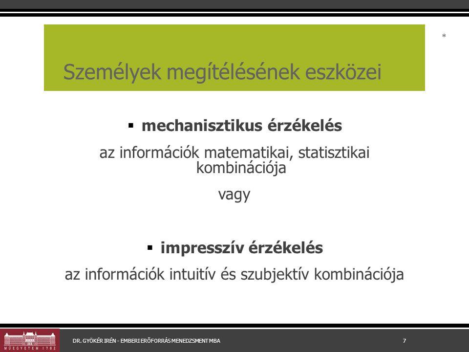 Személyek megítélésének eszközei  mechanisztikus érzékelés az információk matematikai, statisztikai kombinációja vagy  impresszív érzékelés az infor