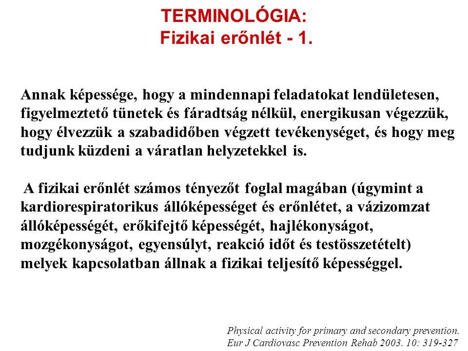 TERMINOLÓGIA: Fizikai erőnlét - 1. Annak képessége, hogy a mindennapi feladatokat lendületesen, figyelmeztető tünetek és fáradtság nélkül, energikusan