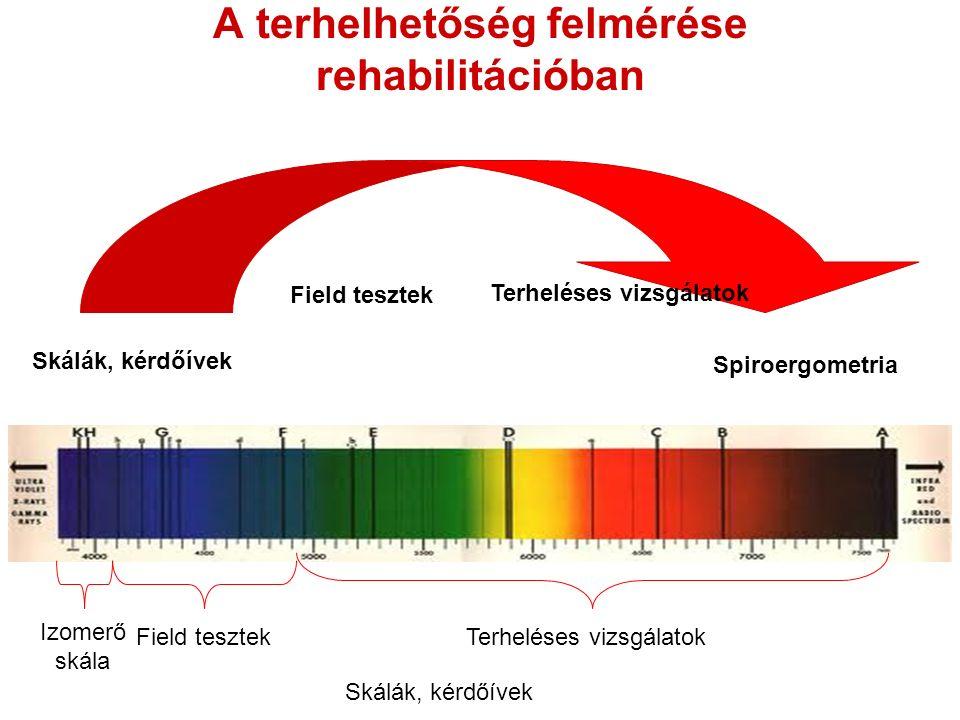 A terhelhetőség felmérése rehabilitációban Skálák, kérdőívek Field tesztek Terheléses vizsgálatok Spiroergometria Skálák, kérdőívek Field tesztekTerheléses vizsgálatok Izomerő skála
