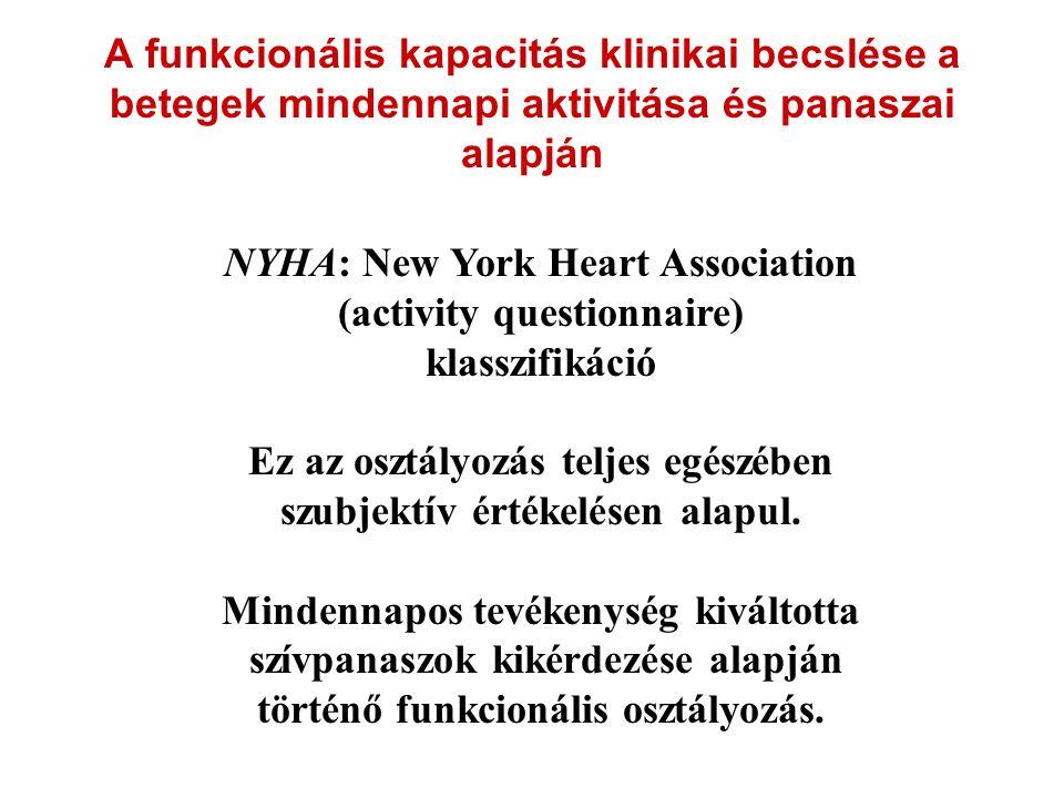 A funkcionális kapacitás klinikai becslése a betegek mindennapi aktivitása és panaszai alapján NYHA: New York Heart Association (activity questionnair