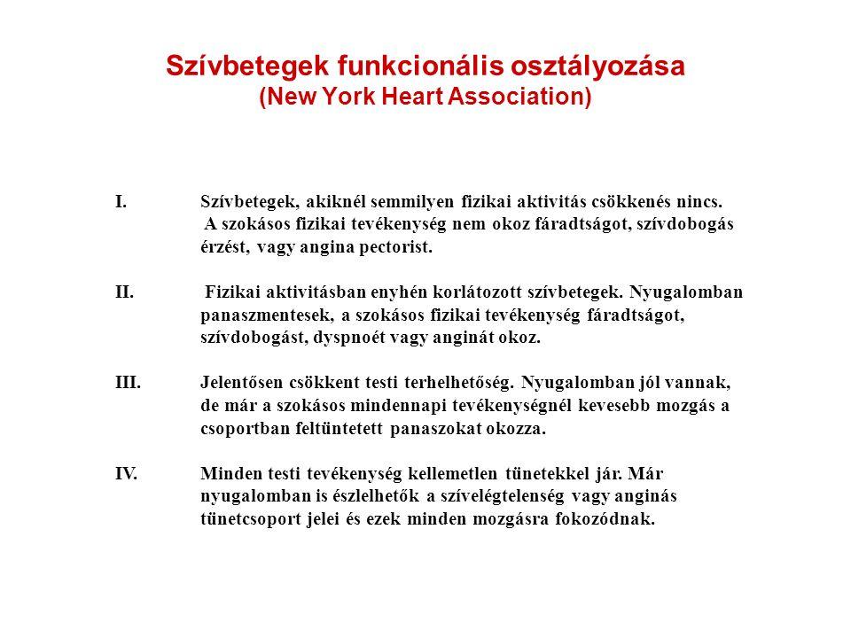 Szívbetegek funkcionális osztályozása (New York Heart Association) I. Szívbetegek, akiknél semmilyen fizikai aktivitás csökkenés nincs. A szokásos fiz