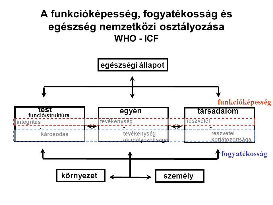 A funkcióképesség, fogyatékosság és egészség nemzetközi osztályozása WHO - ICF egészségi állapot egyén tevékenység - akadályozottsága integritás - károsodás részvétel - korlátozottsága társadalom test funció/struktúra környezet személy funkcióképesség fogyatékosság