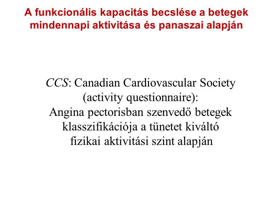 A funkcionális kapacitás becslése a betegek mindennapi aktivitása és panaszai alapján CCS: Canadian Cardiovascular Society (activity questionnaire): Angina pectorisban szenvedő betegek klasszifikációja a tünetet kiváltó fizikai aktivitási szint alapján