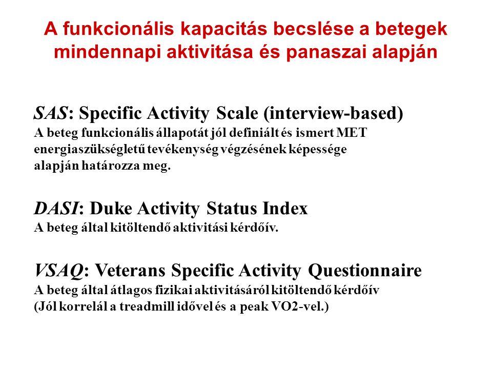 A funkcionális kapacitás becslése a betegek mindennapi aktivitása és panaszai alapján SAS: Specific Activity Scale (interview-based) A beteg funkcioná