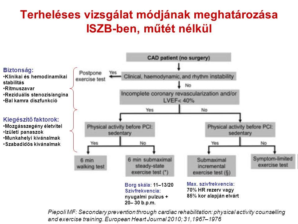 Terheléses vizsgálat módjának meghatározása ISZB-ben, műtét nélkül Piepoli MF: Secondary prevention through cardiac rehabilitation: physical activity