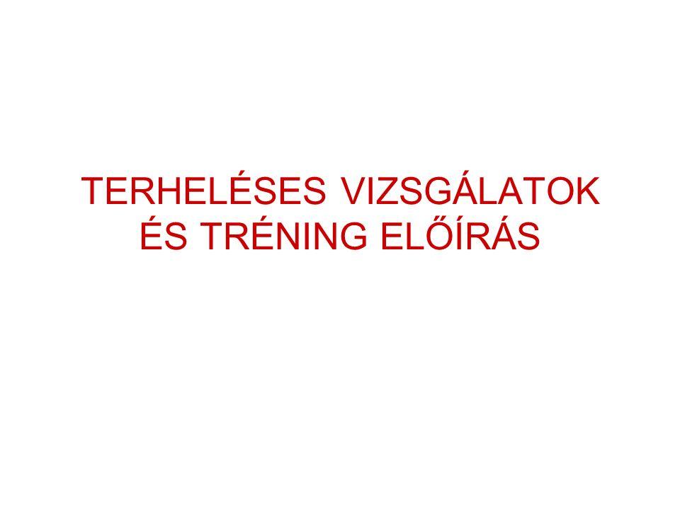 TERHELÉSES VIZSGÁLATOK ÉS TRÉNING ELŐÍRÁS