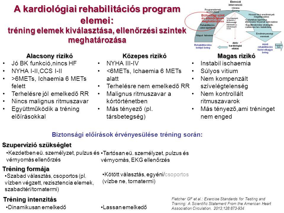 A kardiológiai rehabilitációs program elemei: tréning elemek kiválasztása, ellenőrzési szintek meghatározása Kezdetben eü. személyzet, pulzus és vérny
