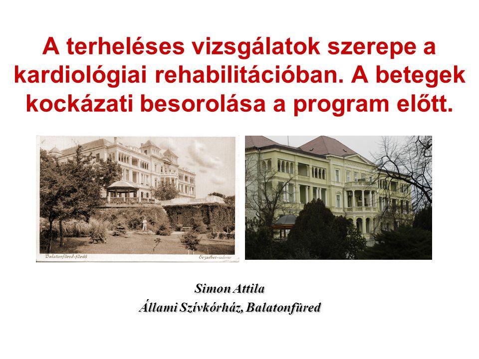 Simon Attila Állami Szívkórház, Balatonfüred A terheléses vizsgálatok szerepe a kardiológiai rehabilitációban. A betegek kockázati besorolása a progra