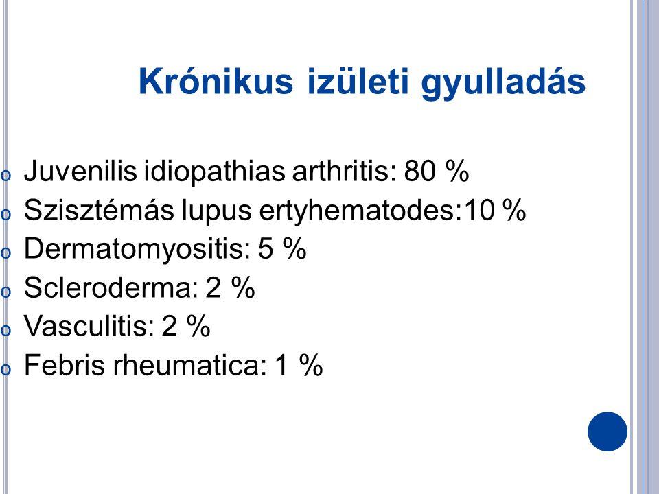 Krónikus izületi gyulladás o Juvenilis idiopathias arthritis: 80 % o Szisztémás lupus ertyhematodes:10 % o Dermatomyositis: 5 % o Scleroderma: 2 % o Vasculitis: 2 % o Febris rheumatica: 1 %