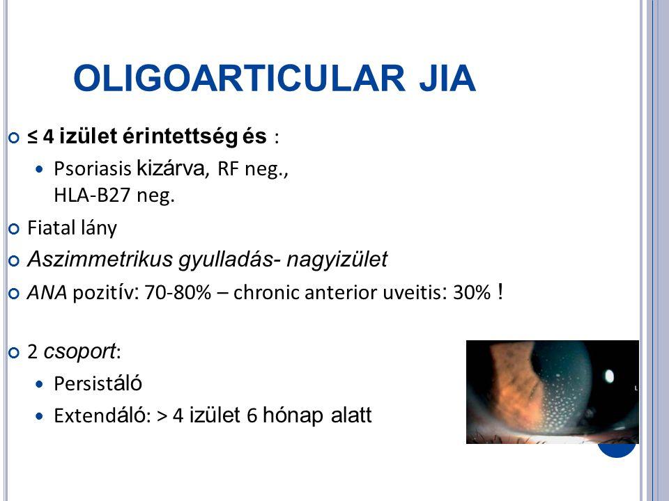 OLIGOARTICULAR JIA ≤ 4 izület érintettség és : Psoriasis kizárva, RF neg., HLA-B27 neg.