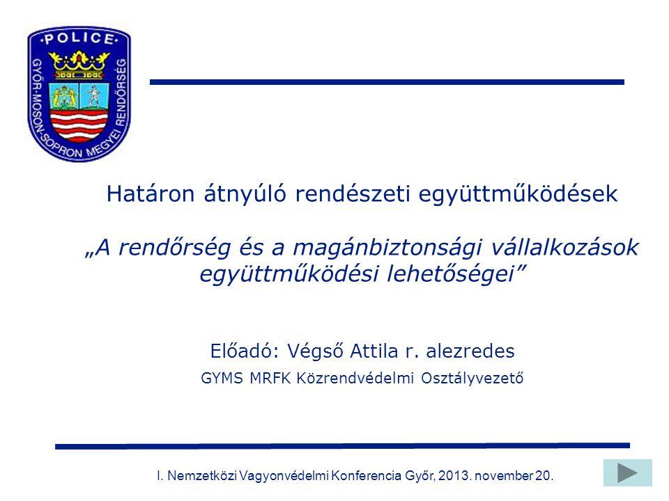 """Határon átnyúló rendészeti együttműködések """"A rendőrség és a magánbiztonsági vállalkozások együttműködési lehetőségei Előadó: Végső Attila r."""
