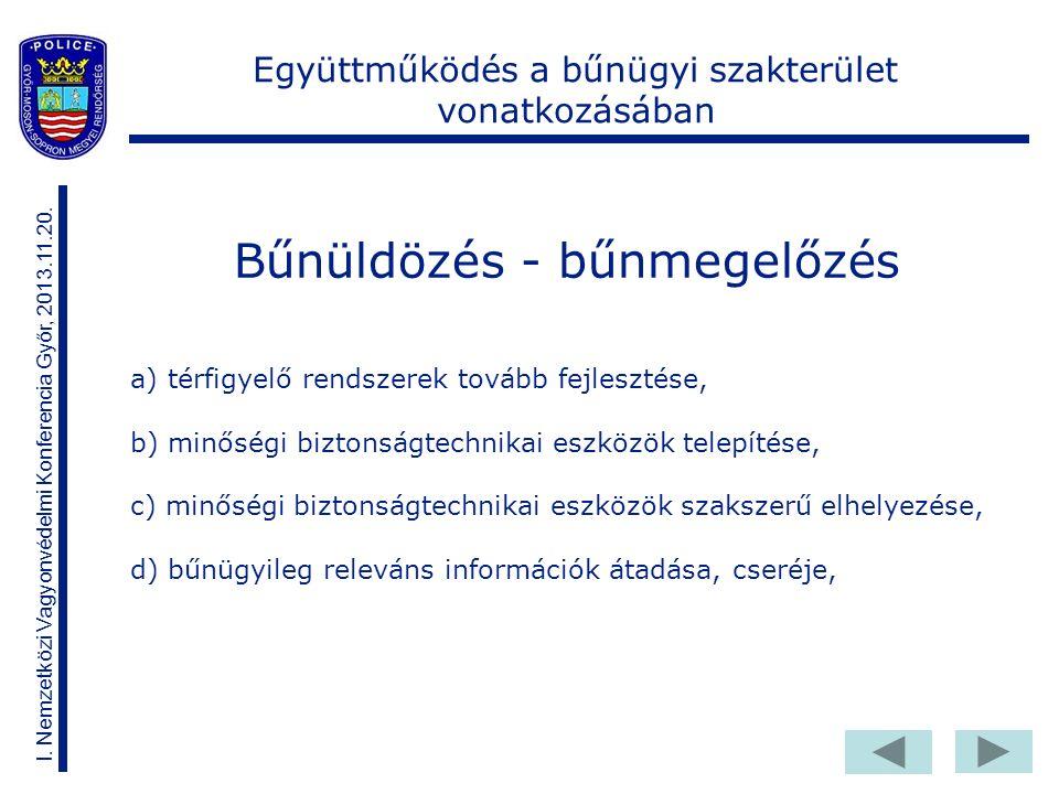 Bűnüldözés - bűnmegelőzés I. Nemzetközi Vagyonvédelmi Konferencia Győr, 2013.11.20.