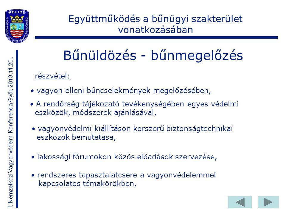 Bűnüldözés - bűnmegelőzés I. Nemzetközi Vagyonvédelmi Konferencia Győr, 2013.11.20..
