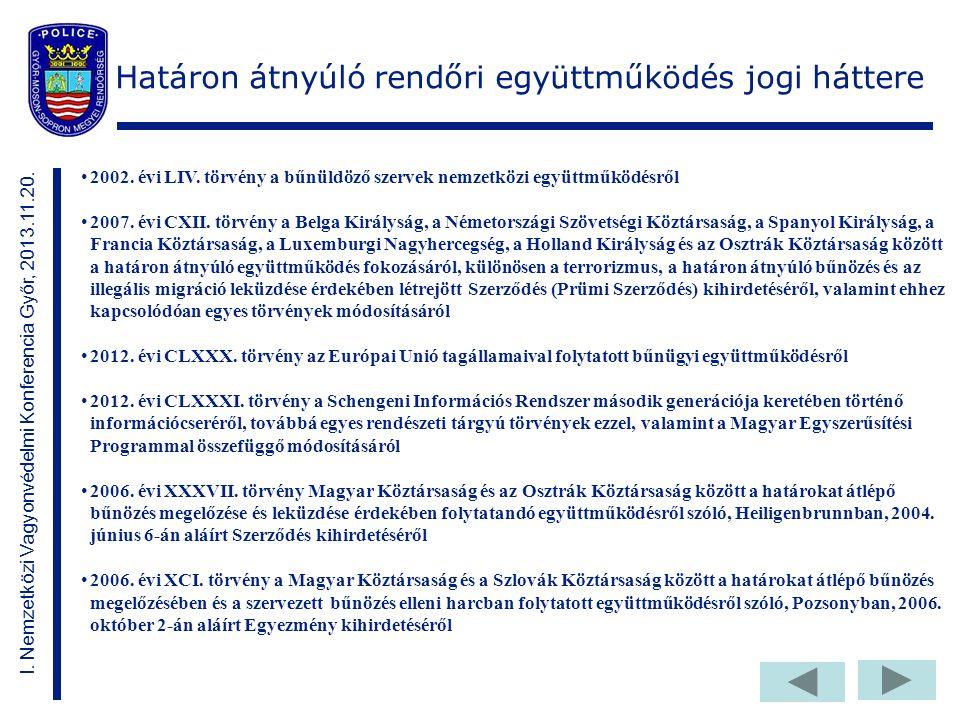Határon átnyúló rendőri együttműködés jogi háttere 2002.