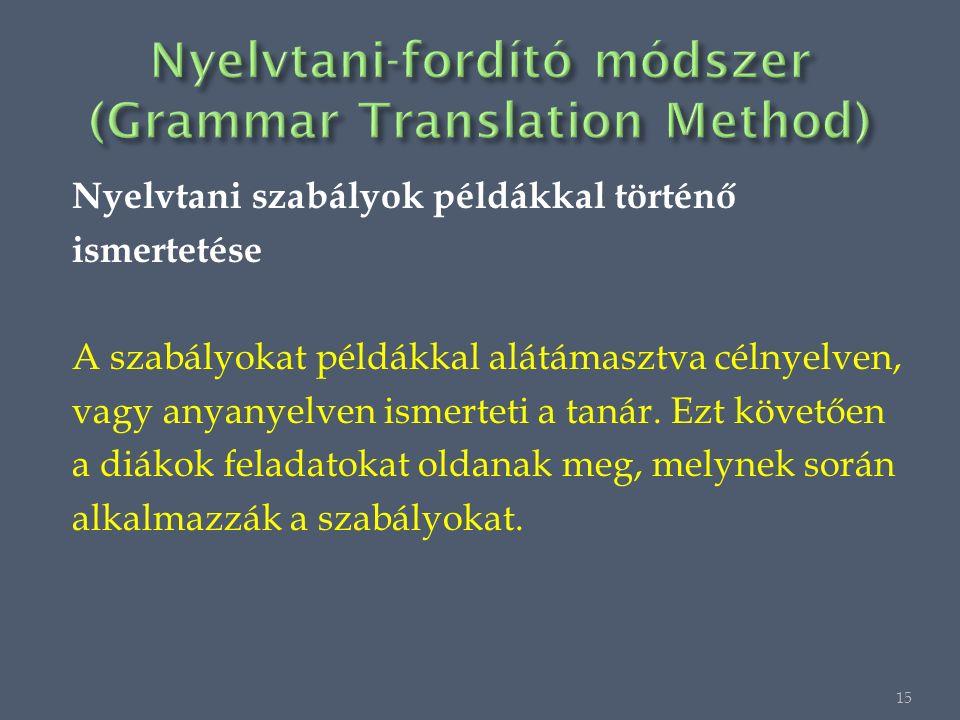 Nyelvtani szabályok példákkal történő ismertetése A szabályokat példákkal alátámasztva célnyelven, vagy anyanyelven ismerteti a tanár.