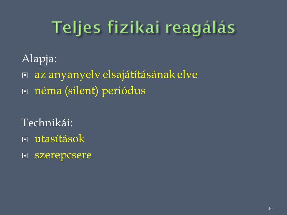 Alapja:  az anyanyelv elsajátításának elve  néma (silent) periódus Technikái:  utasítások  szerepcsere 36