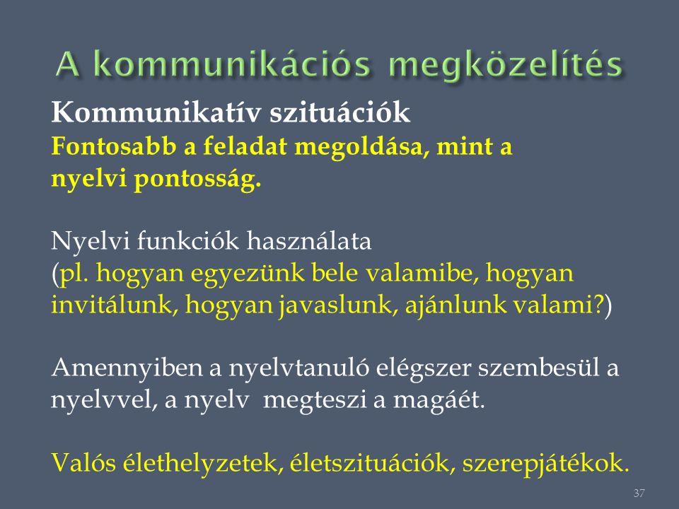 Kommunikatív szituációk Fontosabb a feladat megoldása, mint a nyelvi pontosság.