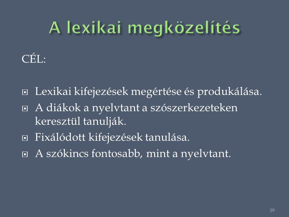 CÉL:  Lexikai kifejezések megértése és produkálása.