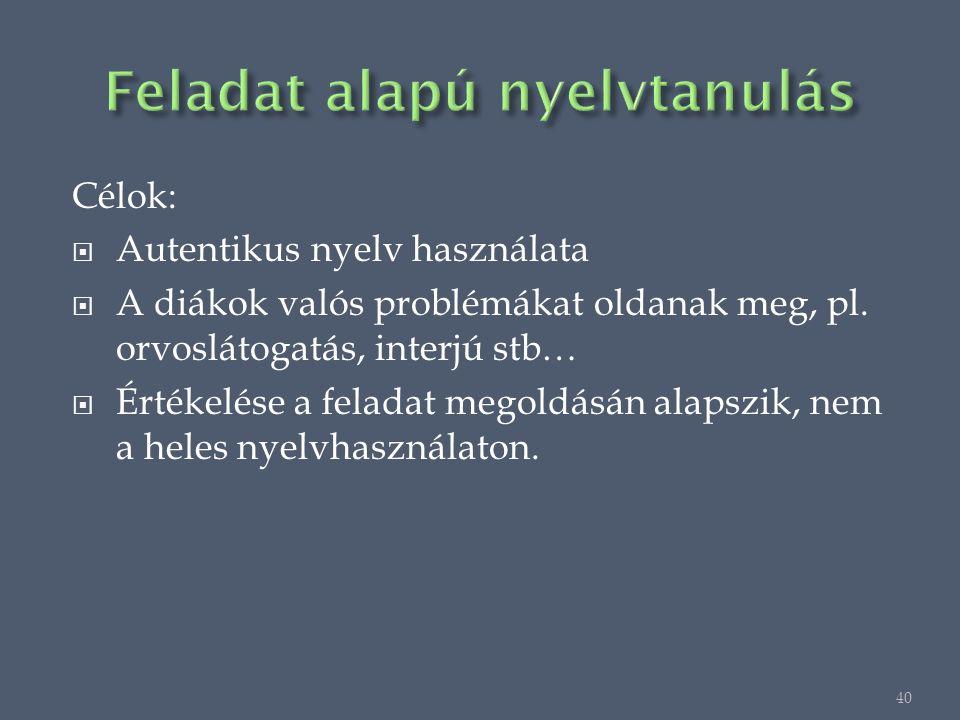 Célok:  Autentikus nyelv használata  A diákok valós problémákat oldanak meg, pl.