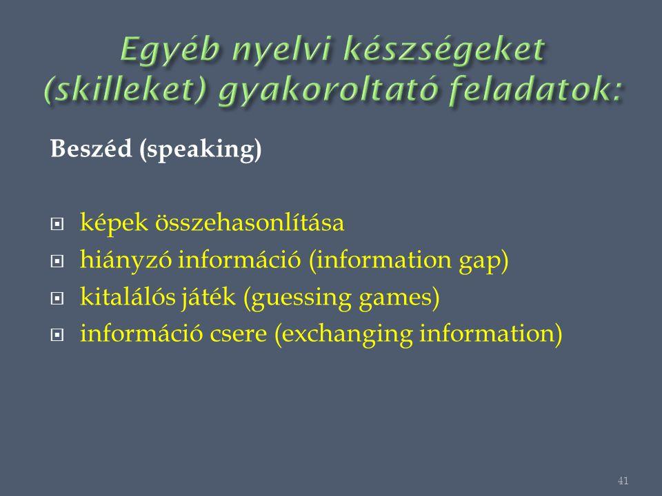 Beszéd (speaking)  képek összehasonlítása  hiányzó információ (information gap)  kitalálós játék (guessing games)  információ csere (exchanging information) 41
