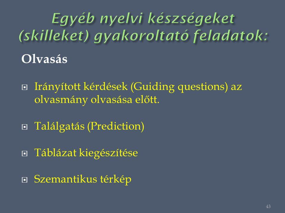Olvasás  Irányított kérdések (Guiding questions) az olvasmány olvasása előtt.
