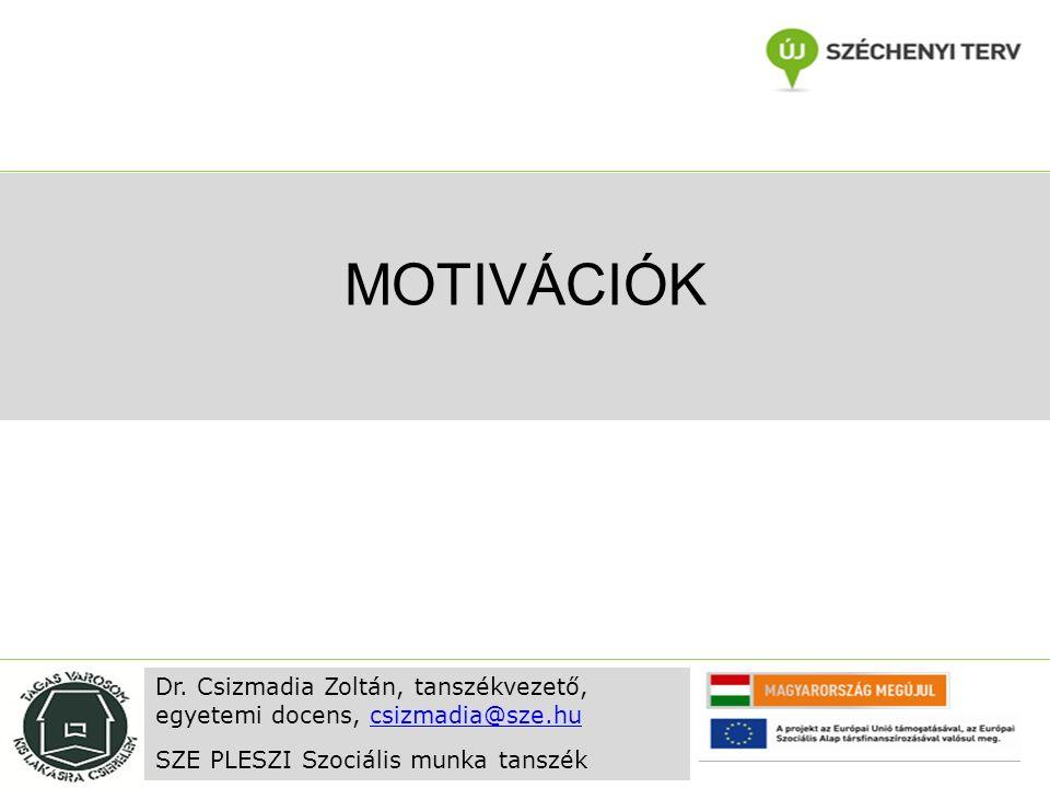MOTIVÁCIÓK Dr. Csizmadia Zoltán, tanszékvezető, egyetemi docens, csizmadia@sze.hucsizmadia@sze.hu SZE PLESZI Szociális munka tanszék