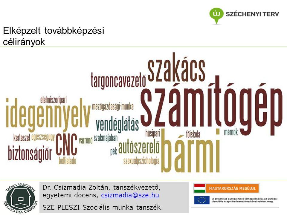 Elképzelt továbbképzési célirányok Dr. Csizmadia Zoltán, tanszékvezető, egyetemi docens, csizmadia@sze.hucsizmadia@sze.hu SZE PLESZI Szociális munka t