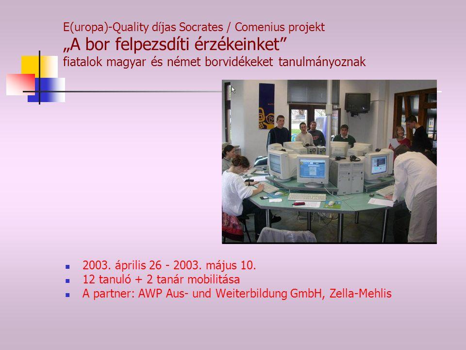 """E(uropa)-Quality díjas Socrates / Comenius projekt """"A bor felpezsdíti érzékeinket fiatalok magyar és német borvidékeket tanulmányoznak 2003."""