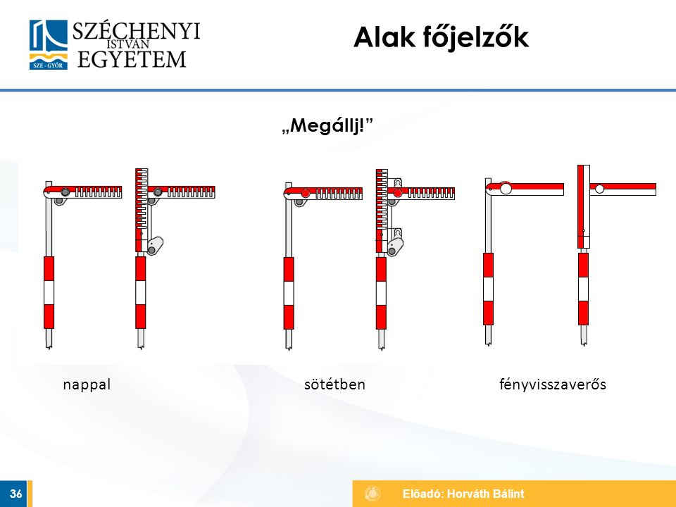 """""""Megállj!"""" 36 Alak főjelzők Előadó: Horváth Bálint nappal sötétben fényvisszaverős"""