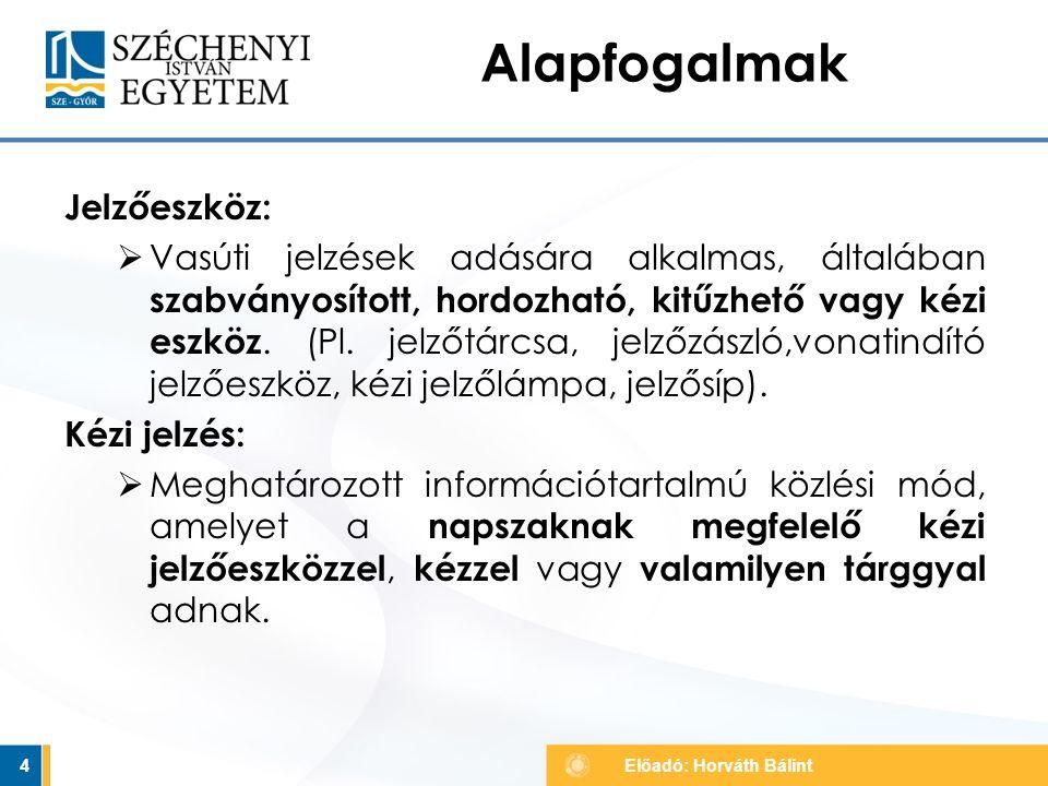 25 Fényjelzők jelzései V. Előadó: Horváth Bálint