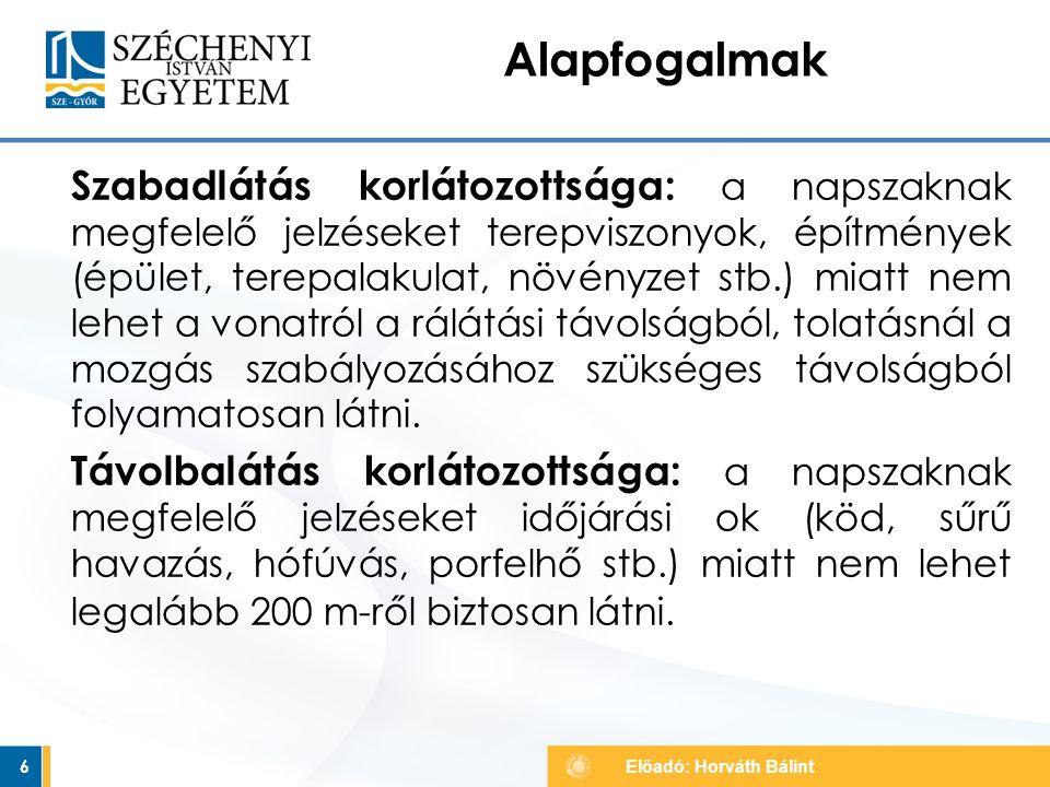 Szabad sebességcsökkentés nélkül 37 Alak főjelzők Előadó: Horváth Bálint nappal sötétben fényvisszaverős
