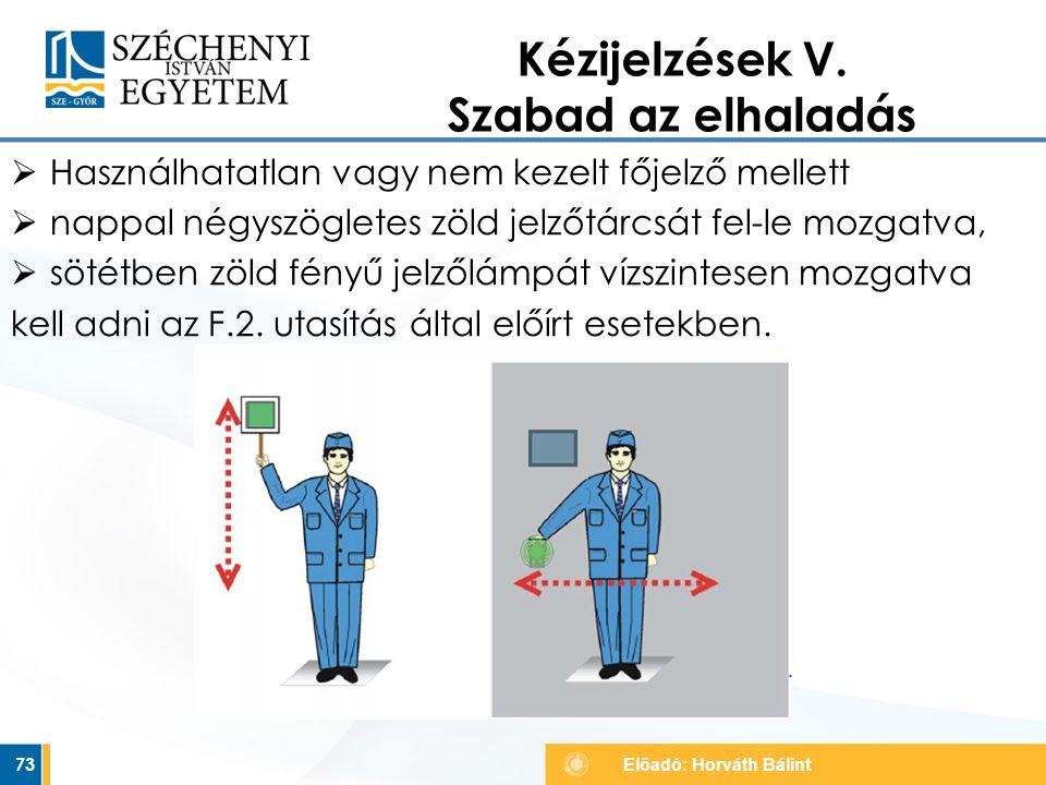  Használhatatlan vagy nem kezelt főjelző mellett  nappal négyszögletes zöld jelzőtárcsát fel-le mozgatva,  sötétben zöld fényű jelzőlámpát vízszint