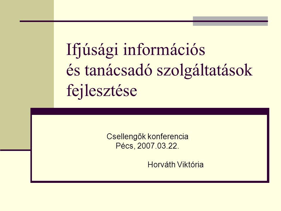 Ifjúsági információs és tanácsadó szolgáltatások fejlesztése Csellengők konferencia Pécs, 2007.03.22. Horváth Viktória