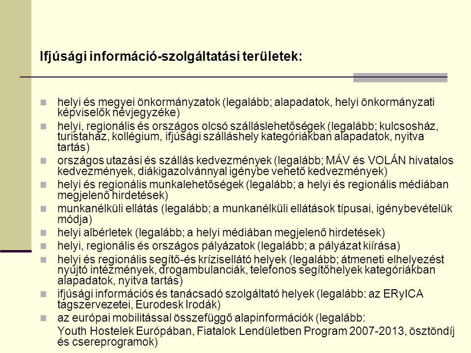 Ifjúsági információ-szolgáltatási területek: helyi és megyei önkormányzatok (legalább; alapadatok, helyi önkormányzati képviselők névjegyzéke) helyi, regionális és országos olcsó szálláslehetőségek (legalább; kulcsosház, turistaház, kollégium, ifjúsági szálláshely kategóriákban alapadatok, nyitva tartás) országos utazási és szállás kedvezmények (legalább; MÁV és VOLÁN hivatalos kedvezmények, diákigazolvánnyal igénybe vehető kedvezmények) helyi és regionális munkalehetőségek (legalább; a helyi és regionális médiában megjelenő hirdetések) munkanélküli ellátás (legalább; a munkanélküli ellátások típusai, igénybevételük módja) helyi albérletek (legalább; a helyi médiában megjelenő hirdetések) helyi, regionális és országos pályázatok (legalább; a pályázat kiírása) helyi és regionális segítő-és krízisellátó helyek (legalább; átmeneti elhelyezést nyújtó intézmények, drogambulanciák, telefonos segítőhelyek kategóriákban alapadatok, nyitva tartás) ifjúsági információs és tanácsadó szolgáltató helyek (legalább: az ERyICA tagszervezetei, Eurodesk Irodák) az európai mobilitással összefüggő alapinformációk (legalább: Youth Hostelek Európában, Fiatalok Lendületben Program 2007-2013, ösztöndíj és csereprogramok)