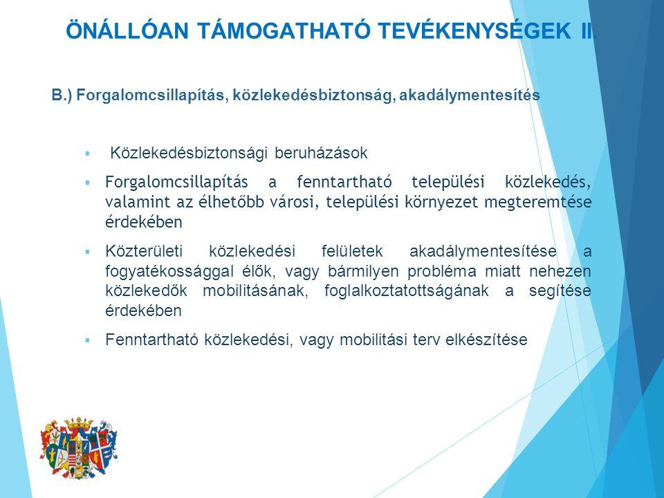 ÖNÁLLÓAN TÁMOGATHATÓ TEVÉKENYSÉGEK II.