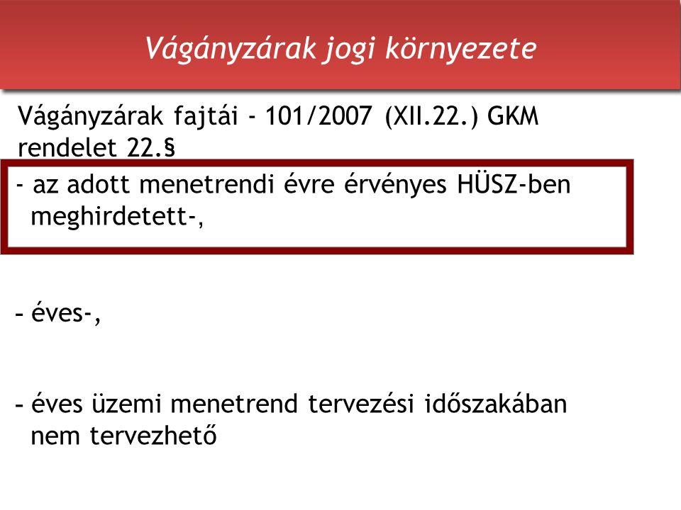 Vágányzárak jogi környezete - éves üzemi menetrend tervezési időszakában nem tervezhető Vágányzárak fajtái - 101/2007 (XII.22.) GKM rendelet 22.§ - az adott menetrendi évre érvényes HÜSZ-ben meghirdetett-, - éves-,