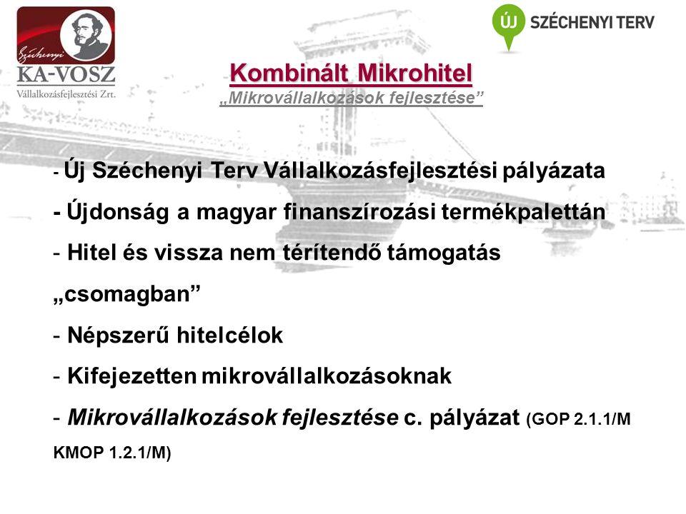 """Kombinált Mikrohitel """"Mikrovállalkozások fejlesztése - Új Széchenyi Terv Vállalkozásfejlesztési pályázata - Újdonság a magyar finanszírozási termékpalettán - Hitel és vissza nem térítendő támogatás """"csomagban - Népszerű hitelcélok - Kifejezetten mikrovállalkozásoknak - Mikrovállalkozások fejlesztése c."""