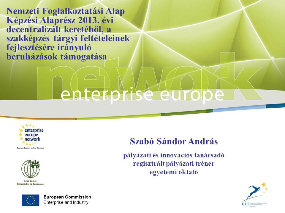 European Commission Enterprise and Industry Szabó Sándor András pályázati és innovációs tanácsadó regisztrált pályázati tréner egyetemi oktató Nemzeti