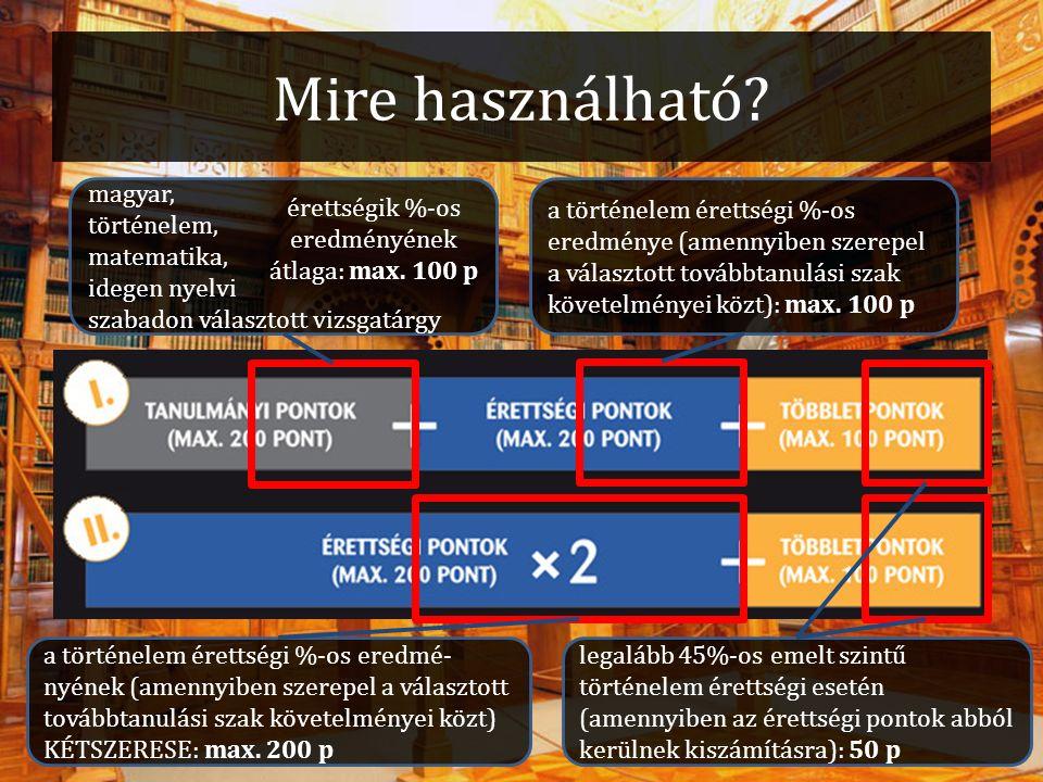 Mire használható? magyar, történelem, matematika, idegen nyelvi szabadon választott vizsgatárgy érettségik %-os eredményének átlaga: max. 100 p a tört