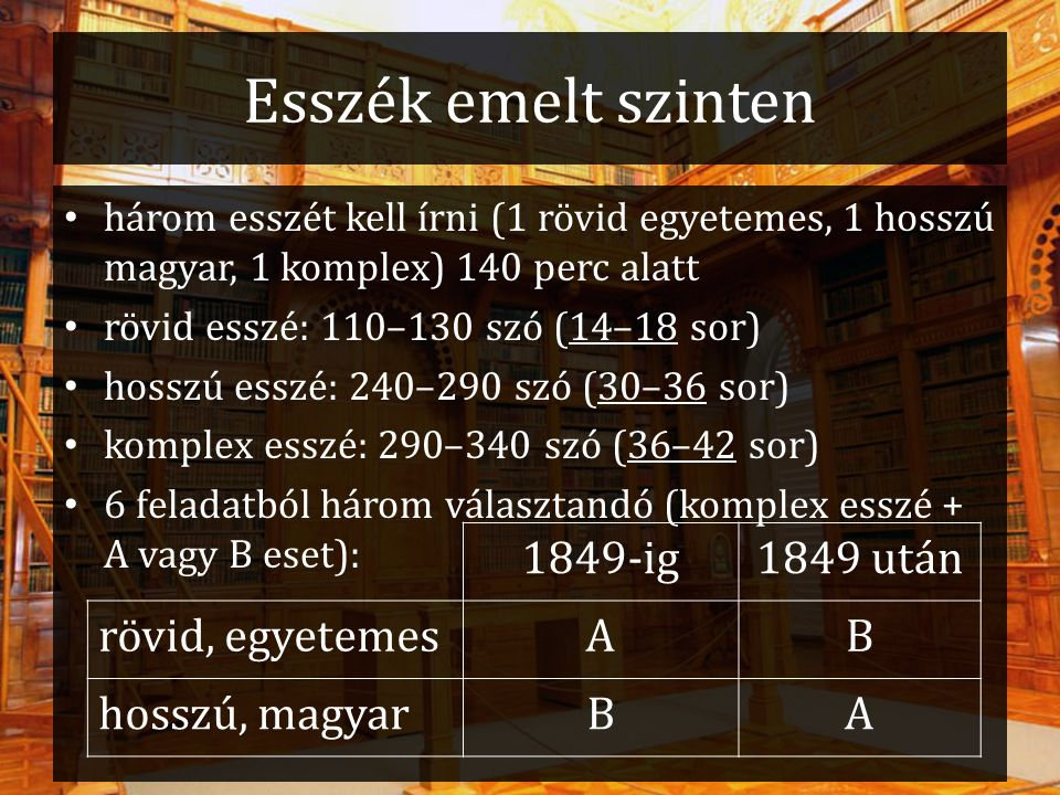 Esszék emelt szinten három esszét kell írni (1 rövid egyetemes, 1 hosszú magyar, 1 komplex) 140 perc alatt rövid esszé: 110–130 szó (14–18 sor) hosszú
