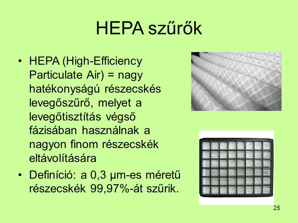 HEPA szűrők HEPA (High-Efficiency Particulate Air) = nagy hatékonyságú részecskés levegőszűrő, melyet a levegőtisztítás végső fázisában használnak a nagyon finom részecskék eltávolítására Definíció: a 0,3 µm-es méretű részecskék 99,97%-át szűrik.