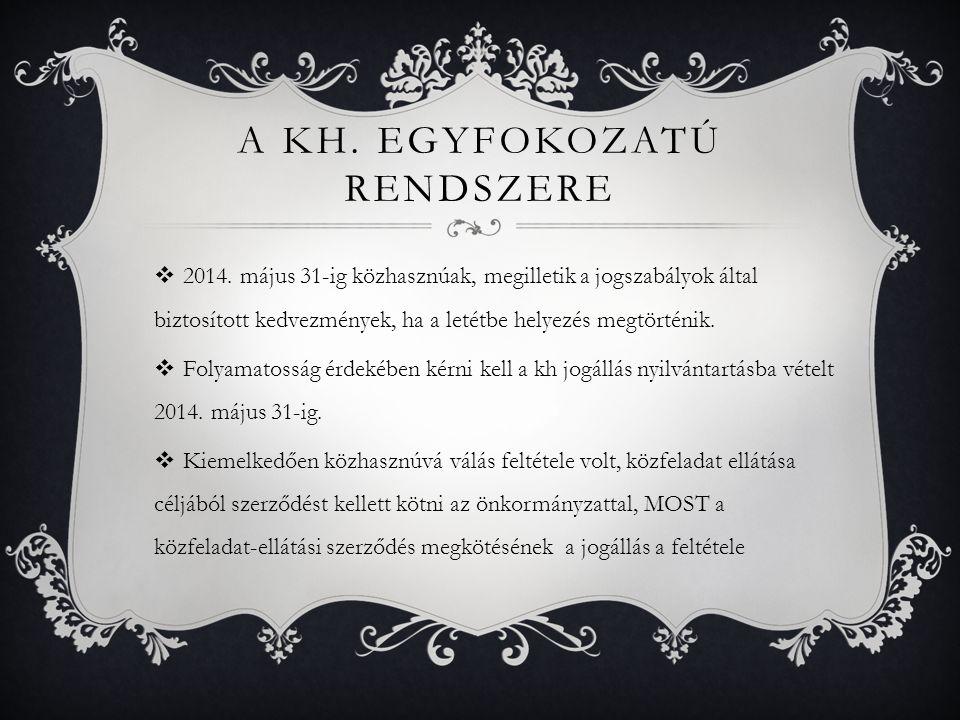 A KH. EGYFOKOZATÚ RENDSZERE  2014.