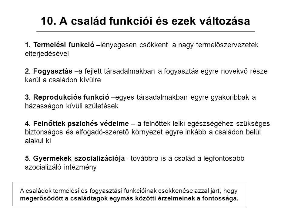10. A család funkciói és ezek változása 1.