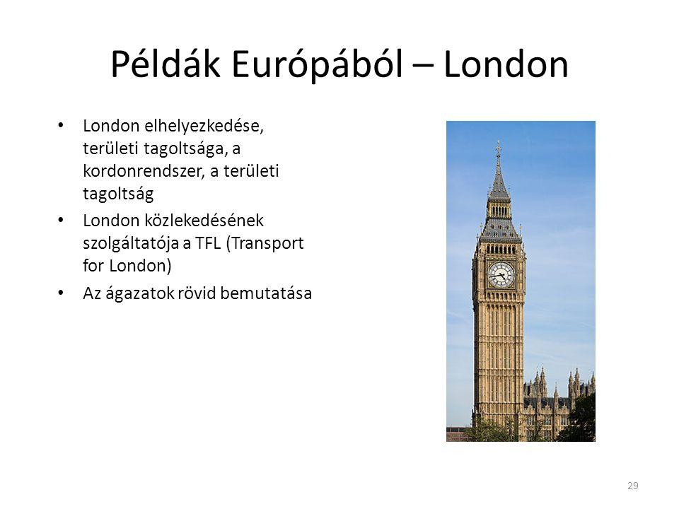 29 Példák Európából – London London elhelyezkedése, területi tagoltsága, a kordonrendszer, a területi tagoltság London közlekedésének szolgáltatója a TFL (Transport for London) Az ágazatok rövid bemutatása