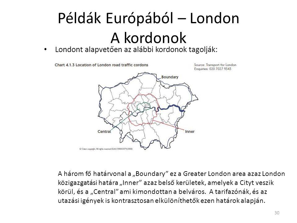 """30 Példák Európából – London A kordonok Londont alapvetően az alábbi kordonok tagolják: A három fő határvonal a """"Boundary ez a Greater London area azaz London közigazgatási határa """"Inner azaz belső kerületek, amelyek a Cityt veszik körül, és a """"Central ami kimondottan a belváros."""
