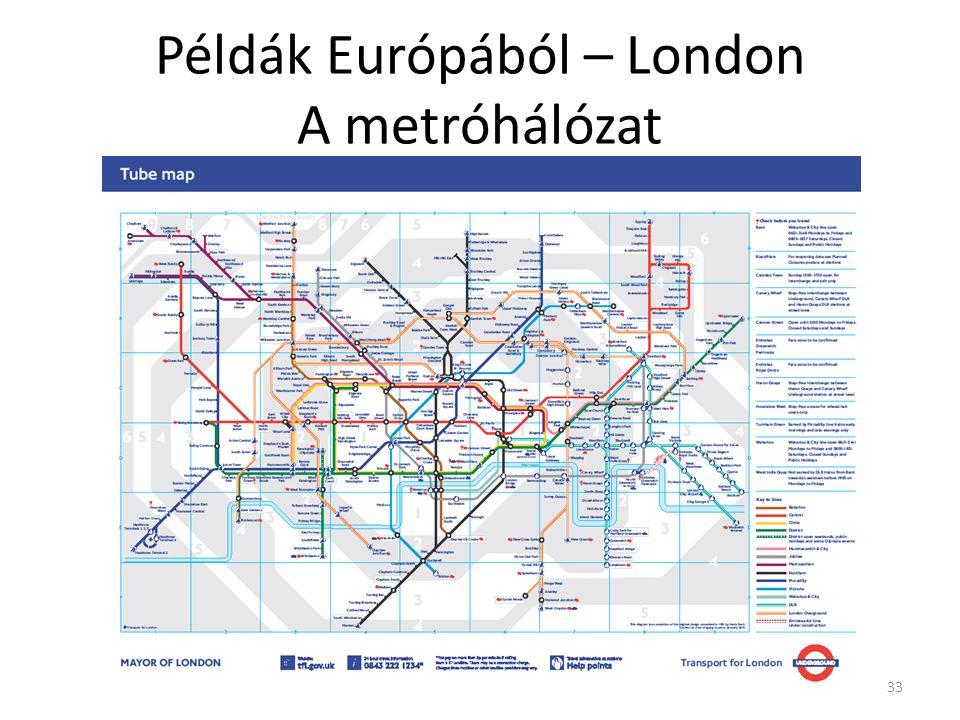 33 Példák Európából – London A metróhálózat