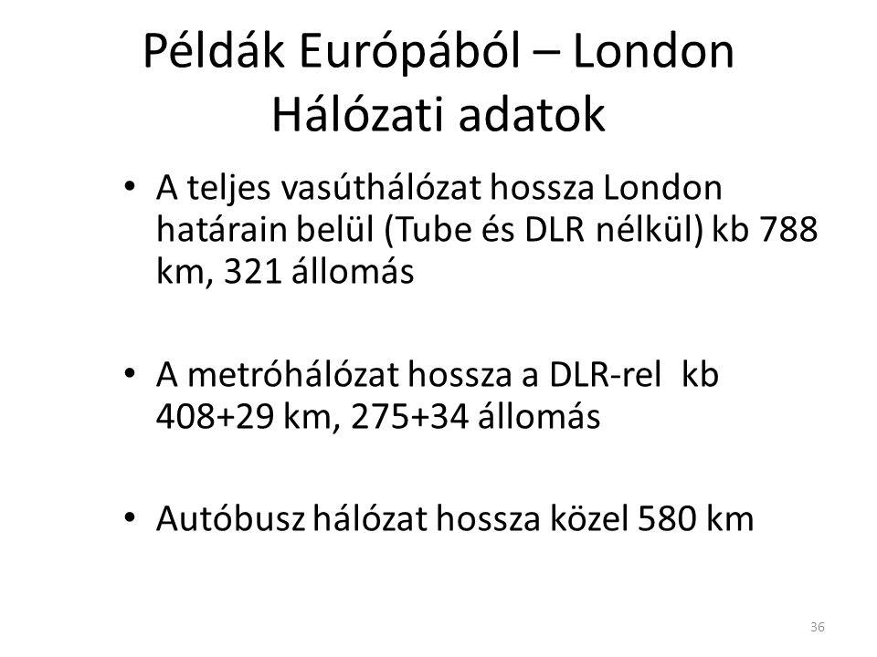 36 Példák Európából – London Hálózati adatok A teljes vasúthálózat hossza London határain belül (Tube és DLR nélkül) kb 788 km, 321 állomás A metróhálózat hossza a DLR-rel kb 408+29 km, 275+34 állomás Autóbusz hálózat hossza közel 580 km