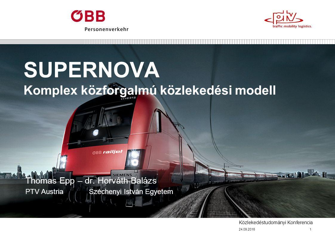 Közlekedéstudományi Konferencia SUPERNOVA Komplex közforgalmú közlekedési modell Thomas Epp – dr.