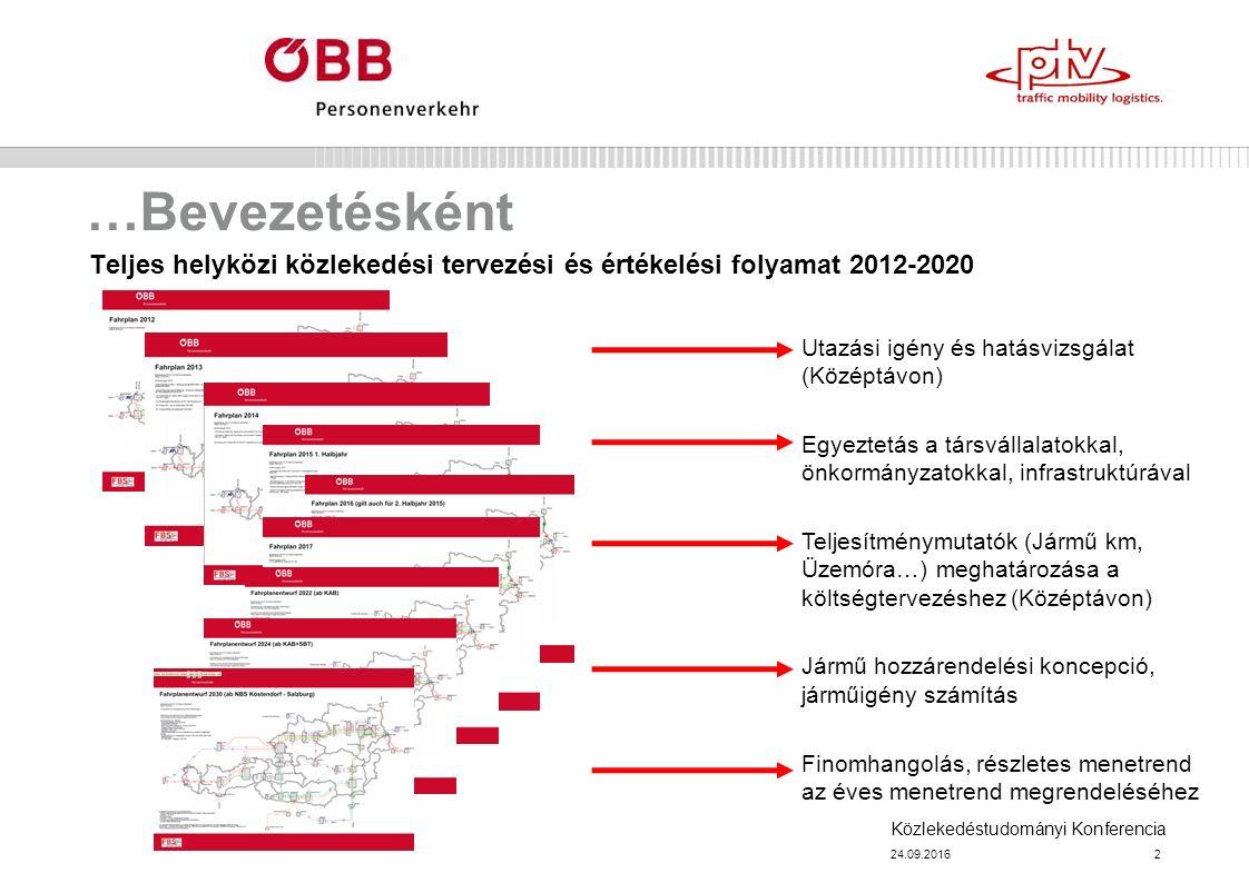 Közlekedéstudományi Konferencia …Bevezetésként Teljes helyközi közlekedési tervezési és értékelési folyamat 2012-2020 24.09.20162 Utazási igény és hatásvizsgálat (Középtávon) Egyeztetás a társvállalatokkal, önkormányzatokkal, infrastruktúrával Teljesítménymutatók (Jármű km, Üzemóra…) meghatározása a költségtervezéshez (Középtávon) Jármű hozzárendelési koncepció, járműigény számítás Finomhangolás, részletes menetrend az éves menetrend megrendeléséhez