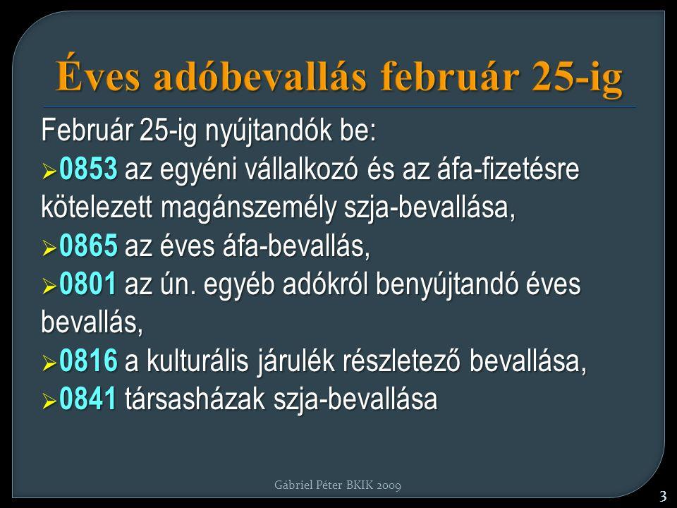Éves adóbevallás február 25-ig Február 25-ig nyújtandók be:  0853 az egyéni vállalkozó és az áfa-fizetésre kötelezett magánszemély szja-bevallása,  0865 az éves áfa-bevallás,  0801 az ún.